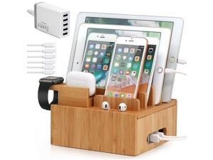 Bamboo Charging Station for Multiple Devices (Included 5 Port USB Charger, 6 Pack Charge & Sync Cable, Watch&Earbuds Stand), Desktop Docking Station Compatible with Smartphone, Tablet, Watch&Earbuds