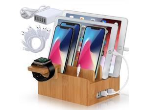 Beebo Beabo Bamboo Charging Station for Multiple Devices with 5 Port USB Charger, 5 Cables and Smart Watch Stand. Electronic Device Desktop Organizer for Cellphone, Tablet, Watch