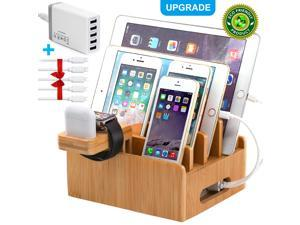Beebo Beabo Bamboo Charging Station for Multiple Devices with 5 Port USB Charger, 5 Cables and Smart Watch & Earbuds Stand. Electronic Device Desktop Dock Stations Organizer