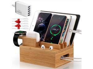 Bamboo Charging Station for Multiple Devices (Included 5 Port USB Charger, 5 Pack Cables, SmartWatch & Earbuds Stand), Charging Station Docking Organizer for Smartphones & Tablets
