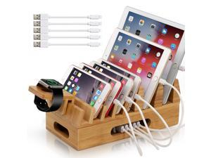 Bamboo Charging Station for Multiple Device with 5 x Charge Cable, Watch Stand (No Power Supply), Wood Docking Stand Electronic Organizer for Multiple Devices, Phones, Tablets, Laptop and More