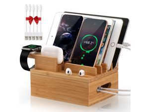 Bamboo Charging Station for Multiple Devices (Included 5 Pack Cables, SmartWatch & Earbuds Stand), Charging Station Docking Organizer for Smartphones & Tablets