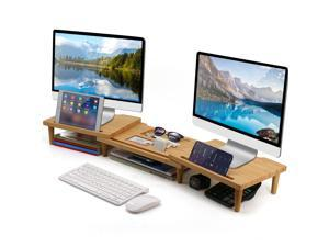 Bamboo Dual Monitor Stand Riser with Length and Angle Adjustable, Office Wood Desktop Stand Storage for Computer, Laptop, PC, Printer, Notebook