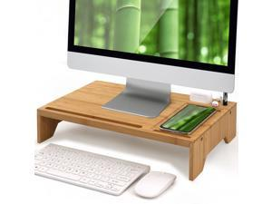 Bamboo Monitor Stand Riser for Desk Organizer, Office Wood Desktop Stand Storage for Computer, Laptop, PC, Printer, Notebook