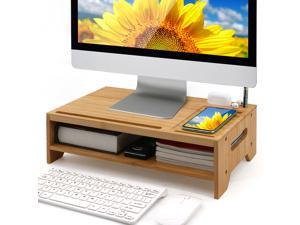 Bamboo Monitor Stand Riser for Desktop Organizer, Wood 2 Tiers Computer Stand Storage for Laptop, Tablet, Cellphone, Keyboard, Printer and More