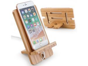 Cell Phone Tablet Stand, Bamboo Wooden Smart Phone Desktop Charging Dock Holder Compatible with Phone 8 Plus X XS Max XR, All iOS & Android Phone- 1 Pack