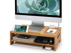 Beebo Beabo Bamboo Monitor Stand Riser, Wooden Desk Organizer, Multi use Screen Shelf for Laptop (Natural Bamboo)