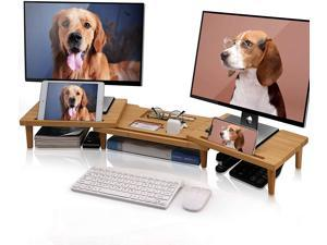 Wooden Monitor Stand Riser, Adjustable Bamboo Riser Stand for Laptop, Large Dual Monitor Stand for Computer Screens, Bamboo Riser Supports for Monitors, Printers, Laptops or TVs (Natural)