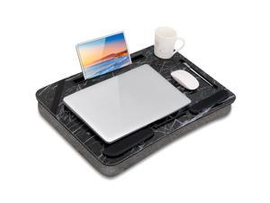 Beebo Beabo Home Office Laptop Desk Cushion, with equipment stand, wrist pad pen slot, white marble portable laptop desk-suitable for 15.9 inch laptop