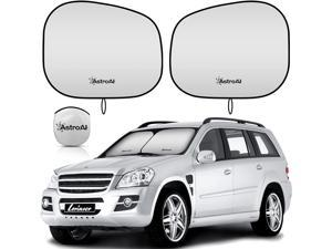 AstroAI Car Sun Shade for Windshield -2 Piece Foldable Car Front Sunshield Blocks Max UV Rays, Titanium Silver Fabric Material, for Most Sedans SUV Truck(Medium Size 28 x 30.7 inches)