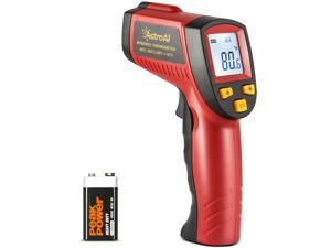 AstroAI Infrared Thermometer 380 (NOT for Human), No Touch Digital Laser Temperature Gun with LCD Display -58~716 Fahrenheit (-50~380 Celsius) for Commercial Repair - Auto/Motor/steel/Cooking - Red
