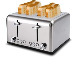 Cusimax Toaster 4-Slice, Extra-Wide Toaster, Bagel/Defrost/Cancel Function/Removable Tray, Stainless Steel, Silver