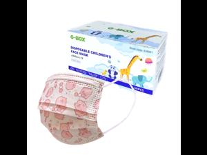 G-Box Kids Face Masks, Children's Face Masks Disposable, 3-Layer, Cute Cartoon Patterns(50-pcs) Blue Puppy Pink Piggy