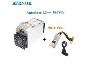 ASIC Chip Miner ANTMINER L3++ 580MH/s With PSU Scrypt Miner LTC1.62J/MH+10% Litecion Mining Machine Better Than ANTMINER L3+ S9 S9i