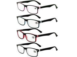 4Pack Mens Womens Readers Rectangular Spring Hinges Reading Glasses +1.0~+3.5