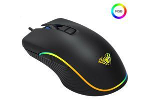 AULA Gaming Mouse Wired RGB 2400 DPI Adjustment Symmetrical Design Full Key Macro Programming Professional IC Engine for Office Games