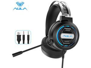 AULA S603 Gaming Headphones Wired Headset Gamer Headphones Deep Bass Stereo Earphone with Microphone for PC Computer PS4 Laptop