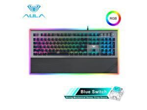 AULA L2098 RGB Keyboard Gaming Mechanical Keyboard Blue Switch Wired Anti-ghosting Crystal Backlit Keyboard for Laptop Desktop