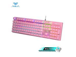 AULA S2022 Mechanical Keyboard Backlight Wired 104 Keys Anti-ghosting Multi-Colorful Gaming keyboard Blue Switch for PC Gamer