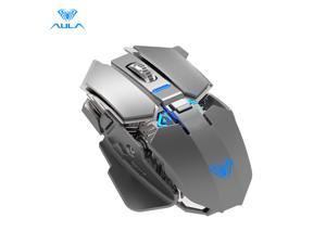AULA SC300 Rechargeable 2.4G Wireless Mouse Smart Sleep Power Saving with 4-Color Breathing Lights 1200DPI 6 Buttons Large Capacity Battery Optical Mouse for laptop