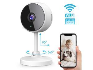 littlelf 1080p Indoor Wireless Camera Video Security IP Camera,  WiFi Camera with Night Vision, 2.4GHz, 2-Way Audio, Wide 130° Viewing Angle (White)