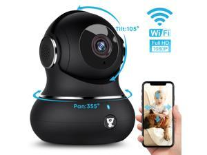 littlelf 1080p Indoor Wireless WiFi Video Security IP Camera with Pan/Tilt, 2.4GHz, 2-Way Audio, Wide 110° Viewing Angle and Night Vision (Black)