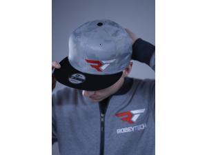 The Robeytech logo custom design machine sewn onto a sleek New Era grey tonal camo cap.  This snapback cap with the flat bill brings an urban edge to an international lifestyle brand.