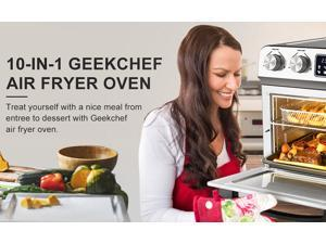 Geek Chef 16-in-1 Air Fryer Toaster Oven Combo, 12 Quart Countertop Convection Airfryer with Rotisserie and Dehydrator, Oil-Free