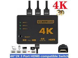 HDMI Switch, 3 Port 3x1 HDMI Switcher Splitter Box Support 4Kx2K Ultra HD 3D Full HD1080p with IR Remote Control