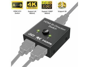 HDMI Splitter 4K HDMI Switch, 2 x 1 or 1 x 2 HDMI Switcher Bidirectional 2 Inputs 1 Output, No External Power Needed, Supports for 4K/3D/1080/HDCP HDTV/Blu-Ray Player/DVD/DVR/Xbox
