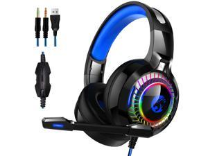 Gaming Headset PS4 Headset, with Noise Canceling Mic and RGB Light , PC Headset with Stereo Surround Sound, Over-Ear Headphones for PC, PS4, PS5, Xbox One, Laptop