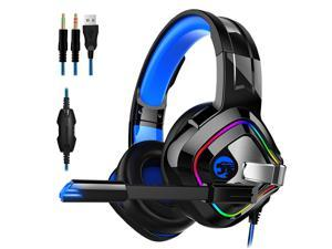 Gaming Headset Wired Over-Ear Headphone for PS4, PS5, Xbox One, PC, Laptop with Noise Canceling Mic and RGB Light 7.1 Surround Sound,Comfortable Earmuffs