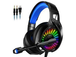 Gaming Headset with Microphone, Compatible with PS4 PS5 Xbox One PC Laptop, Over-Ear Headphones with LED RGB Light, Noise Canceling Mic, 7.1 Stereo Surround Sound