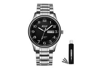 BOSCK Casual Analog Mens Watches,Stainless Steel 30M Waterproof Fashion Wrist Watch for Men,Fashion Auto Date and Day Quartz Business Watches,Easy Read Sports Wristwatches