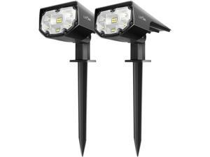 LITOM 12 LED Solar Landscape Spotlights, IP68 Waterproof Solar Powered Wall Lights 2-in-1 Wireless Outdoor Solar Landscaping Lights for Yard Garden Driveway Porch Walkway Pool Patio, Cool White 2 Pack
