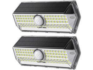 LITOM 2 Pack Solar Lights Outdoor, LITOM Upgraded Solar Motion Sensor Light with 4 Lighting Modes IP67 Waterproof Rating Durable Security Lights for Yard, Garden, Patio