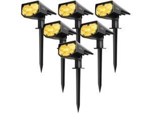 LITOM 12LED Solar Light IP68 Waterproof Solar Spot Lights Outdoor Floor Lamp, 2-in-1 Wireless Solar Landscape Spotlights for Yard Garden Flag Pool Patio Driveway Porch Walkway Warm White 6 Pack