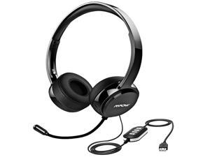 Mpow 071 USB Headset/3.5mm Computer Headset with Microphone Noise Cancelling, In-line Control, Lightweight PC Headset Wired Headphones, Business Headset for Skype, Webinar, Phone, Call Center