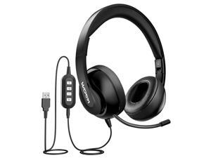 Mpow 224 Computer Headset with 2 in 1 Detachable Plug, 3.5mm USB Wired Headset, Retractable Noise Cancelling Mic, Foldable Over-Ear Business Headset for Skype, Webinar, Call Center, Phone
