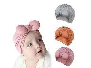 DORA MOMOKO Baby Turban Hat with Bow Knot Newborn Girl Cotton Hats Infant Baby Girl Soft Hospital Hat Toddler Headwrap
