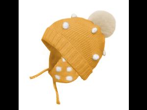 DORA MOMOKO Baby Girl Winter Hat Toddler Infant Warm Knitted Hats Pom Pom Kids Earflaps Beanie Cap for Boys Girls