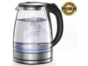 HadinEEon Electric Kettle, 1.8L Glass Boiler Coffee Pot, Water Heater 7 Big Cups with Quick Boil, Auto Shut Off & Boil-Dry Protection, Stainless Steel Inner Lid & Bottom