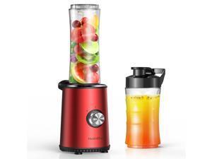 HadinEEon Blender with 300-Watt Powerful Motor Base, Personal Blender for Shakes and Smoothies with 10oz/20oz Tritan BPA Free Portable Travel Blender Bottle, 3 Adjustable Speeds, Burgundy