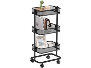 ALVOROG 3-Tier Metal Rolling Utility Cart, Rolling Kitchen Cart with Adjustable Shelves Easy Assembly Storage Trolley with Lockable Wheels for Kitchen Bathroom Patio (Black)