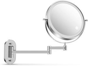 Alvorog Wall Mounted Makeup Mirror 3 Color Lighting Modes Dual Power Supply Touch Screen Light Adjustable Timing Function Cosmetic Mirror 1X/5X Magnifying 360° Swivel Vanity Mirror-8 inch