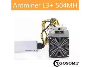 ANTMINER L3+ 504MH/S ( New 110V-220V PSU and US Power Cord Included ) Scrypt Litecoin Miner LTC Mining Machine ASIC Miner Superior to BITMAIN ANTMINER L3 L7 S9 S11 S17 S19 T17 E9