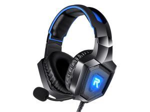 RUNMUS Gaming Headset, PC Headset Surround Sound, Noise Canceling with Mic & LED Light, Compatible with PS5, PS4, Xbox One, Nintendo Switch