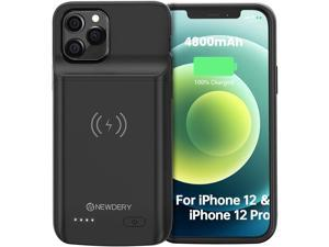"""NEWDERY Battery Case for iPhone 12 Pro & iPhone 12 6.1"""", 4800mAh Portable Protective Backup Qi Wireless Charging Case for iPhone 12 Pro & iPhone 12, Rechargeable Extended Battery Pack Charger Case"""
