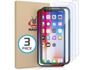 MANTO 3-Pack Screen Protector for iPhone 11 Pro XS X 5.8 Inch Tempered Glass Clear, Shatter-Proof, Bubble Free, 3D Touch, Case-Friendly, Easy-Install