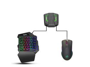 One-handed gaming keyboard and mouse combination, 35-key RGB backlit USB 2.0 mini keyboard, game converter adapter compatible with PS4/Xbox One/Nintendo Switch/PS3/PC